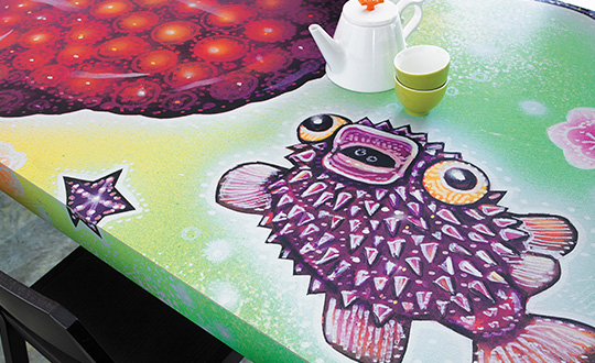 Sushi table puffer fish Formica Envision Custom Laminate
