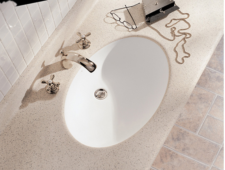Bathroom sink with purse and glasses V100 Formica Solid Surfacing