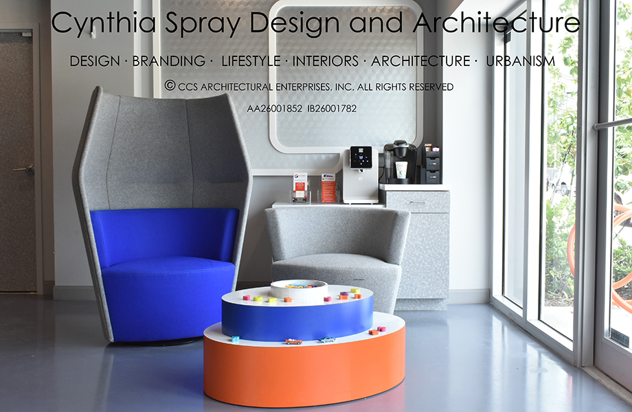 Chair and table by Cynthia Spray featuring Clementine and Spectrum Blue Formica Laminate