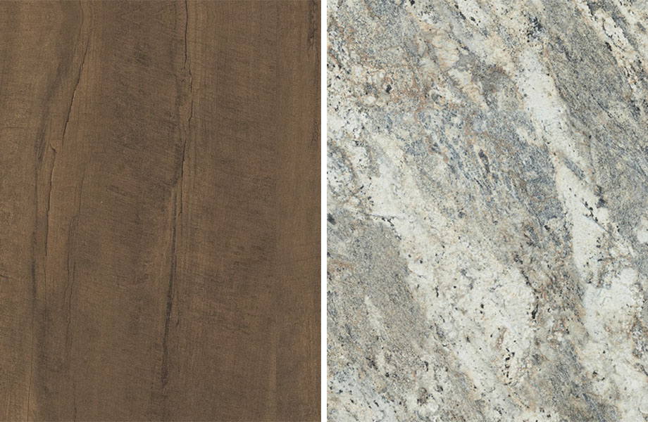 Agencement grain de bois et pierre : Poutrelle Oxydée et Café Azuré