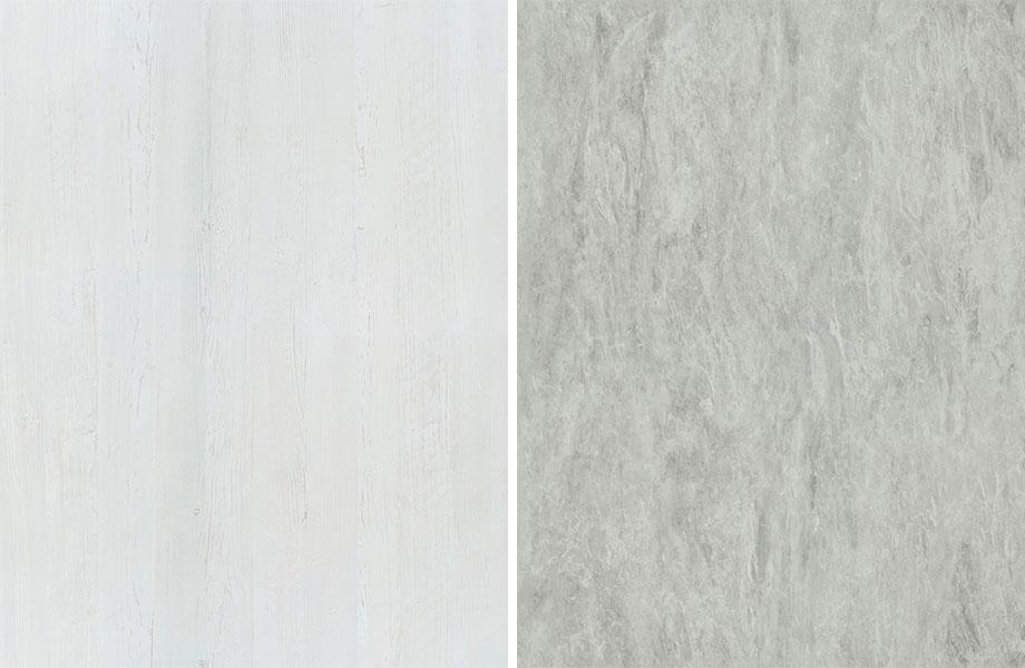 Agencement grain de bois et pierre : Bois Peint Blanc et Bardiglio Blanc