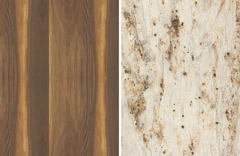 Agencement grain de bois et pierre : Noyer et Or Rivière