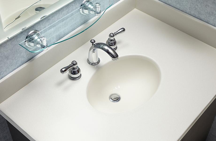 Lavabo de salle de bain et comptoir de Surface Solide en acrylique de modèle Luna Sable (757) avec robinet et tablette