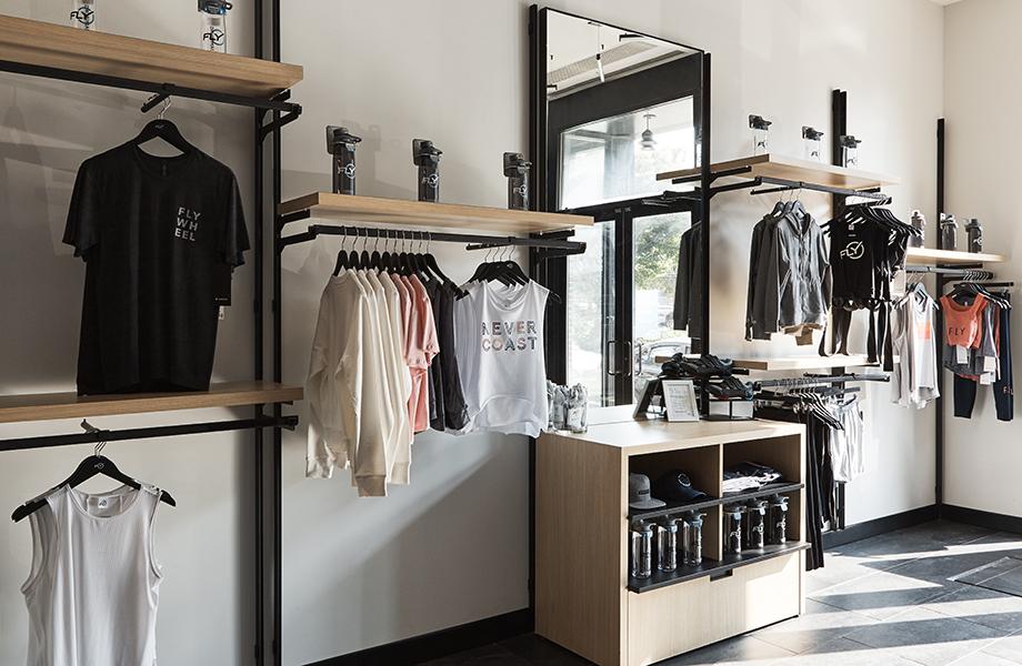 Flywheel retail shop featuring Aged Ash Formica laminate shelves