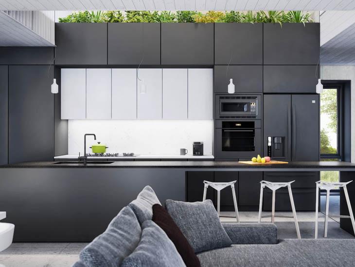 Formica Infiniti et Surfaces Inscriptibles dans la cuisine de maison écologique EcoHabitat