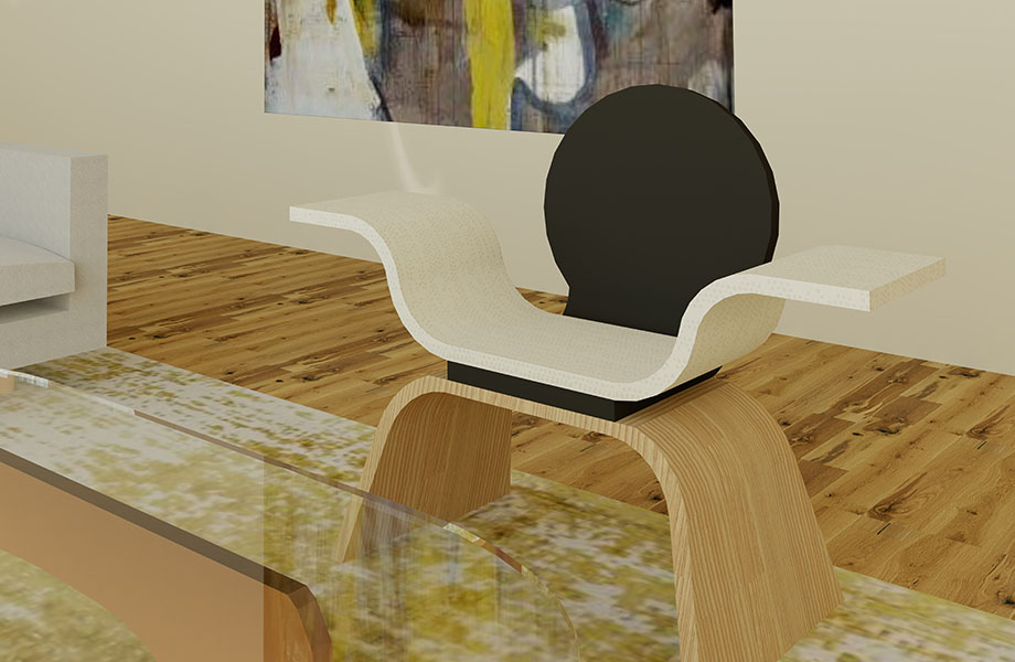 "Winner of Formica Corporation's 2019 FORM Student Innovation Competition Grand Prize: Alyssa Holcomb, University of Central Oklahoma ""Shrug Chair"""