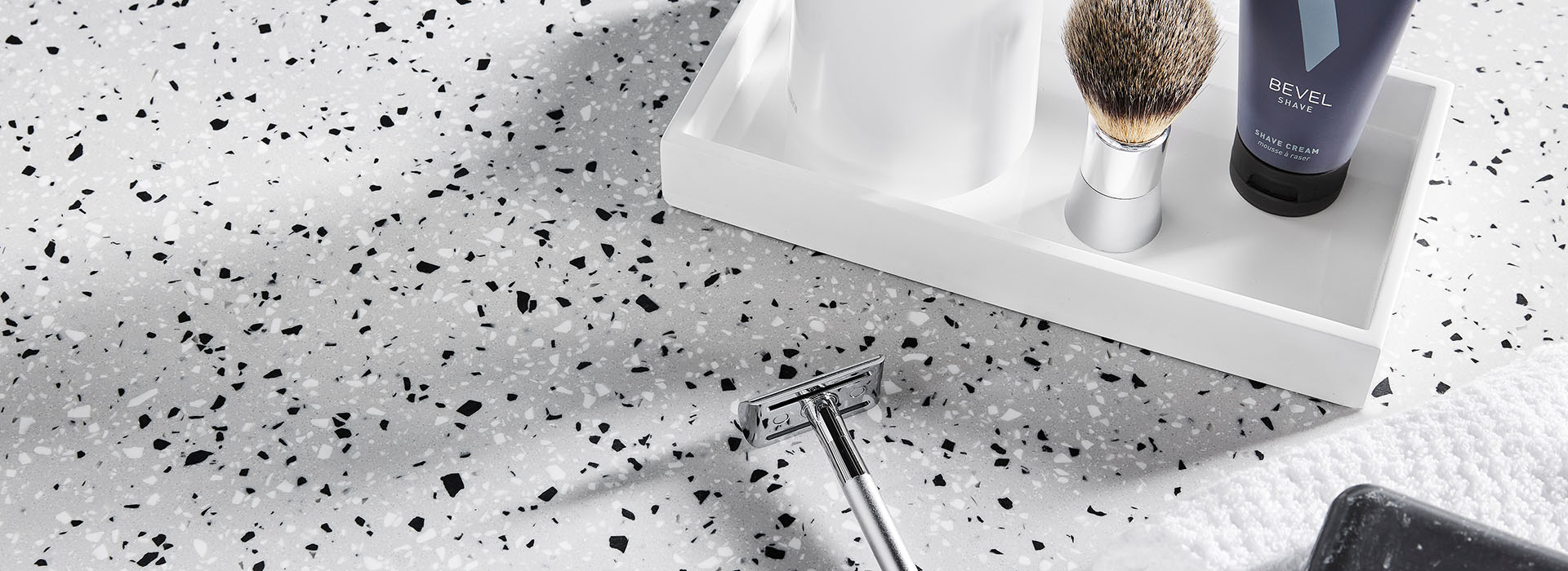 410 Argento Terrazzo Matrix solid surface bathroom sink counter with razor and soap dish