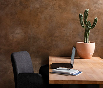 M9423 Brass Patina office wall with cactus