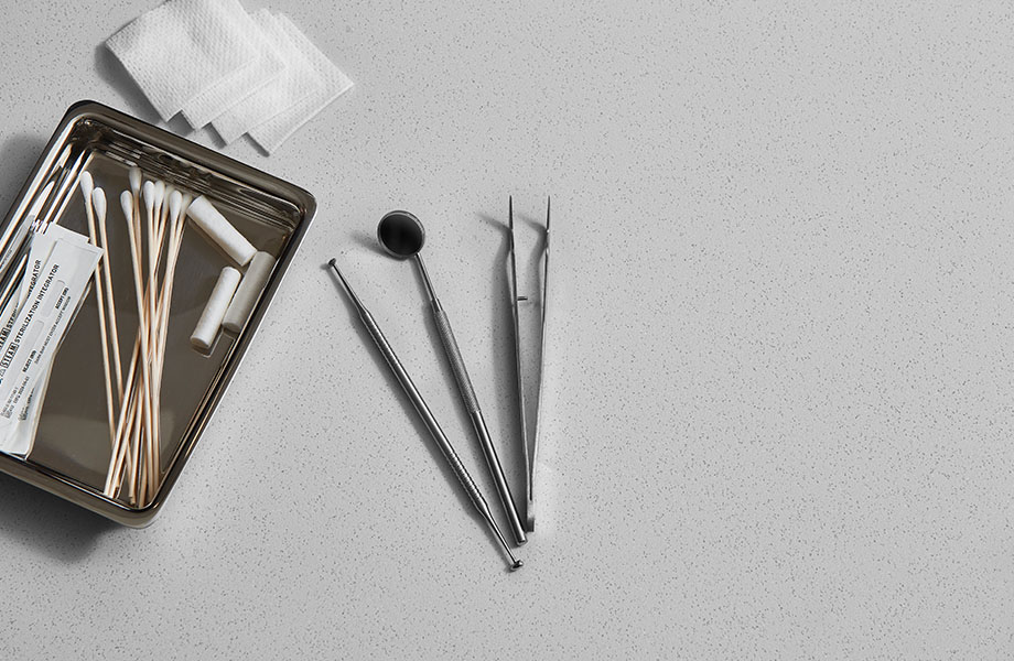416 Luna Pewter gray solid surface countertop with dental tools