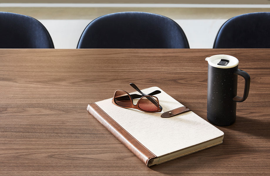 5782-NG Formal Walnut wood laminate study table with notebook and coffee