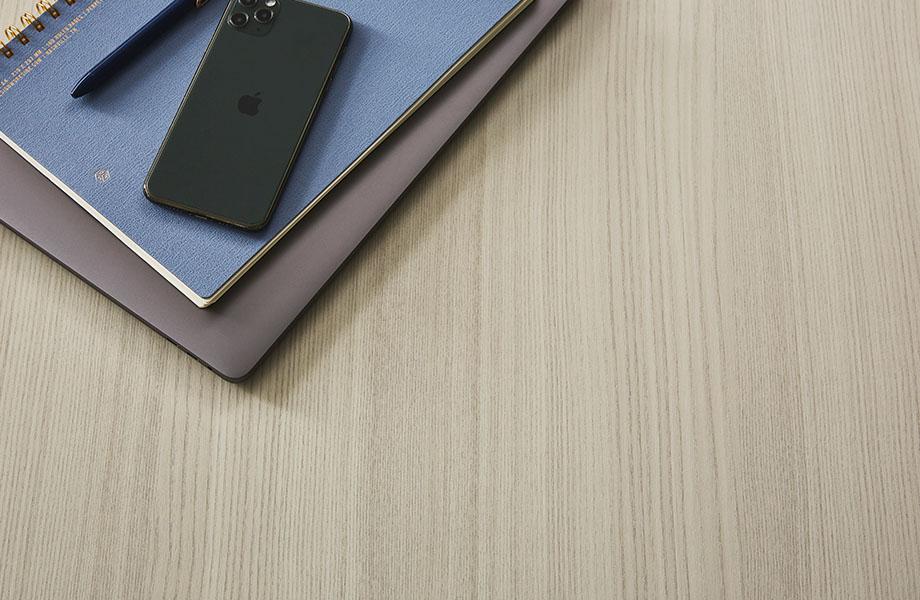 5784-NG Ashwood Bone woodgrain tabletop with notebook