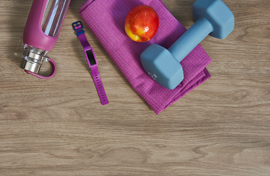 5787-NG Taupe Walnut wood laminate counter with exercise equipment