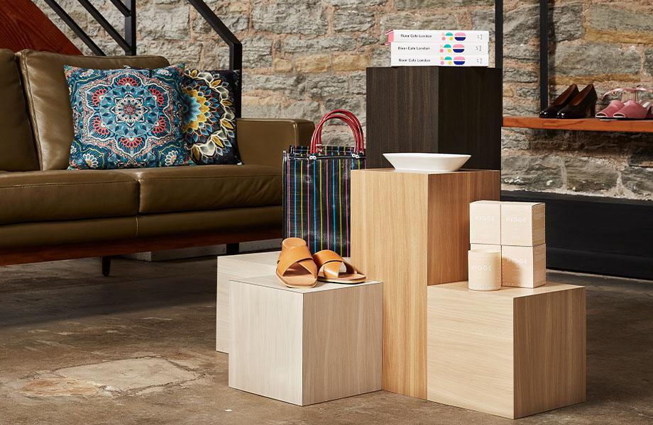 Retail display with Formica woodgrain laminate: 5794-NG Beige Elm, 5795-NG Camel Elm, 5793-NG Buff Elm, 5796-NG Graphite Elm
