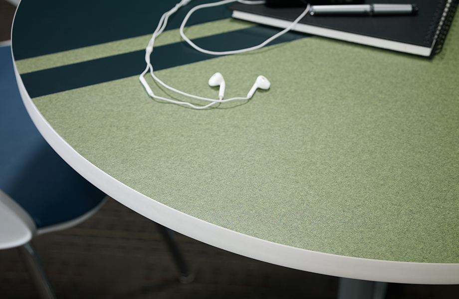 8244 58 Night Forest and 4974 PA Green Felt table with headphones
