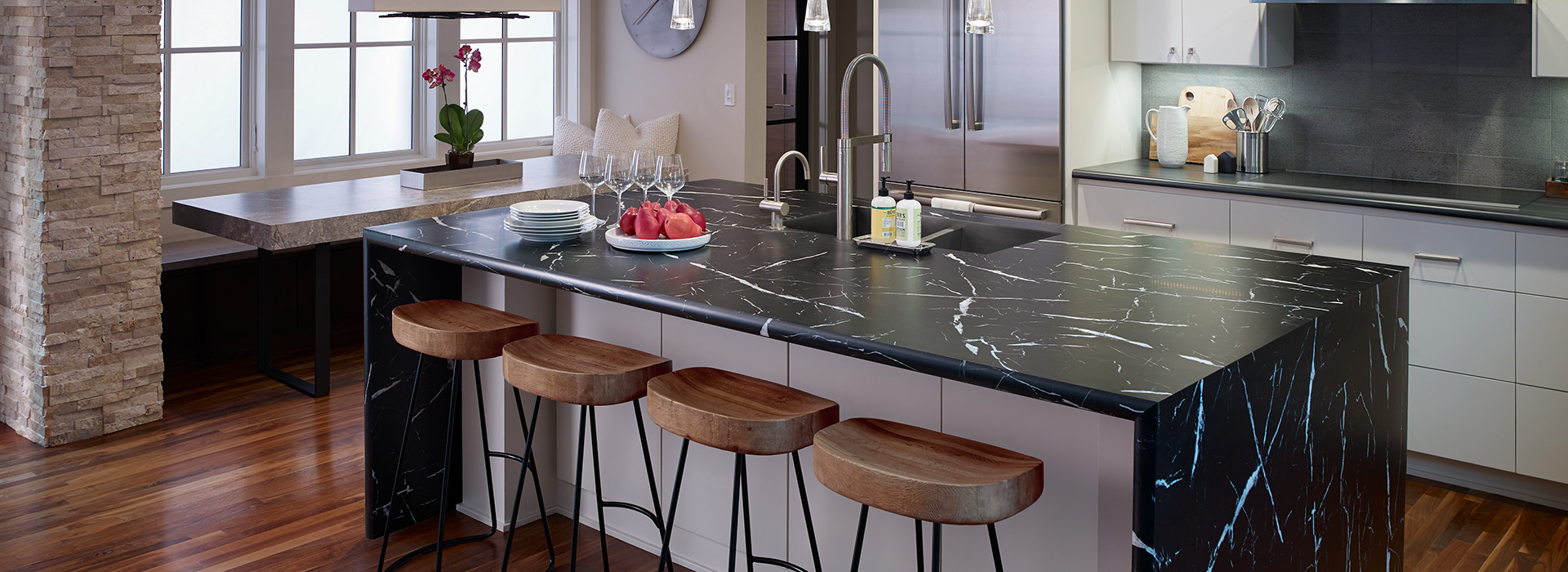Breakfast bar kitchen island countertop 7403 Nero Marquina 180fx