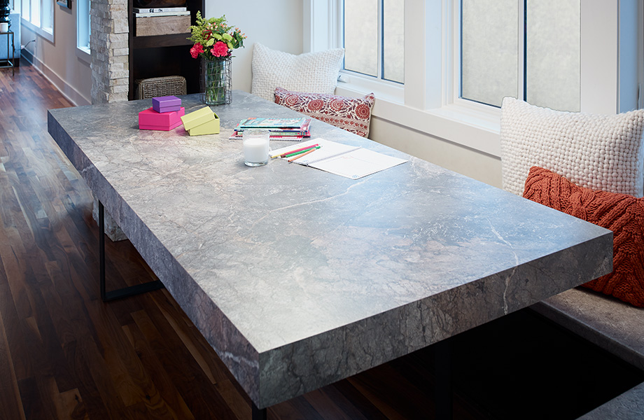 Kitchen table with colorful boxes 7405 Istanbul Marble 180fx