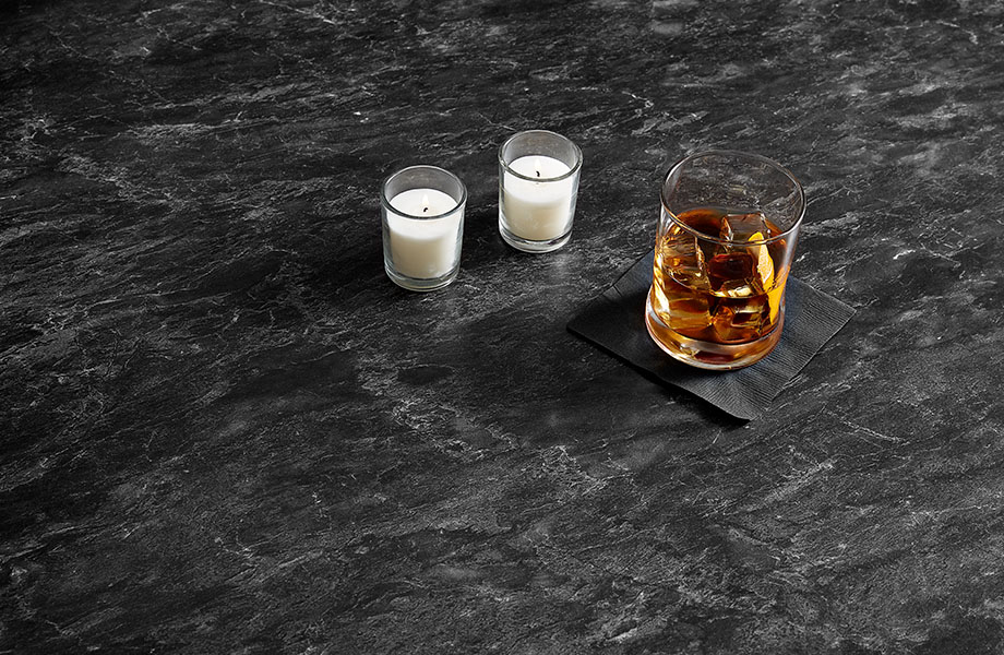 5019-34 Black Bardiglio with drink and candles shows the versatility of near-black countertops