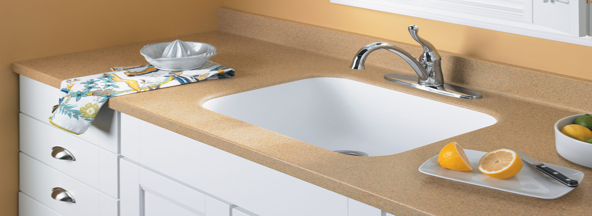 Kitchen sink with lemons K080 306 Ginger Root Mist Formica Solid Surfacing