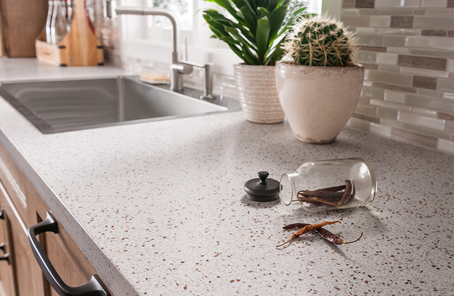 Kitchen countertop with plants and peppers 742 Blanco Terrazzo Formica Solid Surfacing