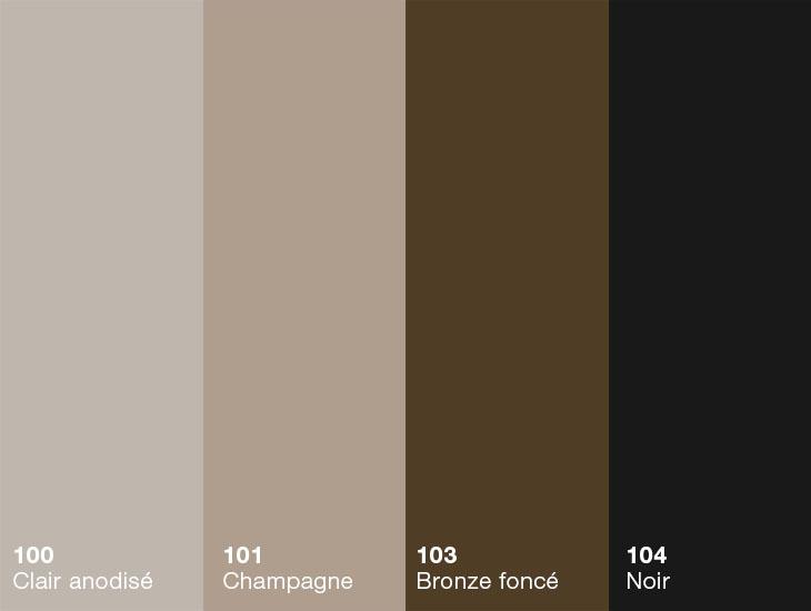 Toutes les bordures de finition HardStop™ sont offertes dans cinq couleurs anodisées