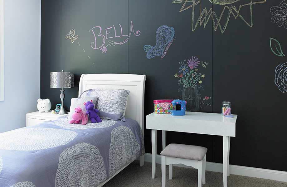 Bed and desk in childs room 3037 Black ChalkAble Writable Surfaces